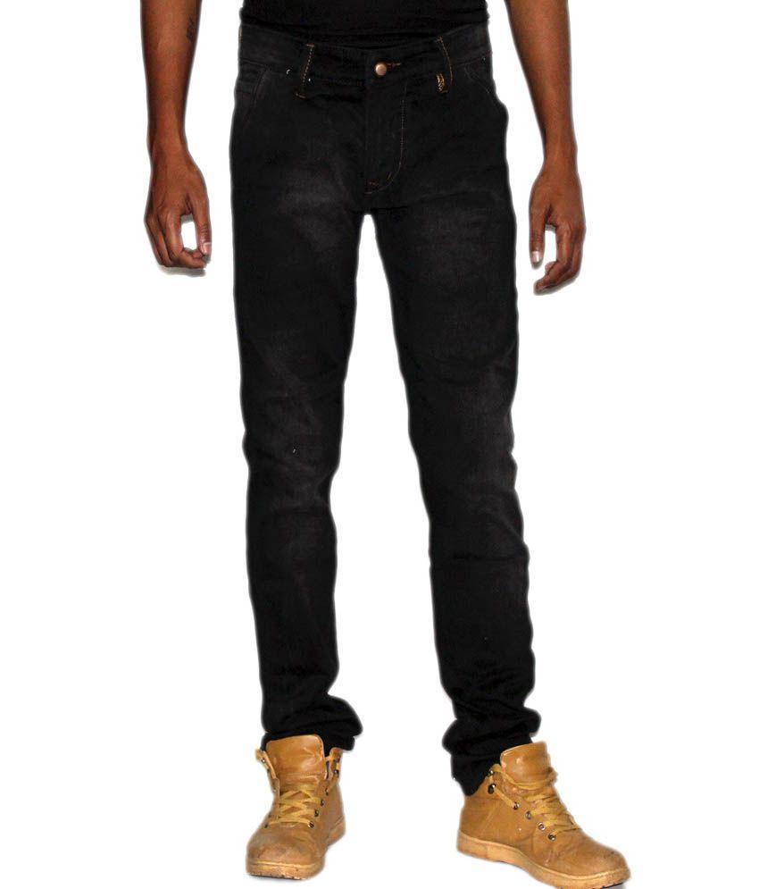 Monday Blues Cotton Slim Fit Black Jeans