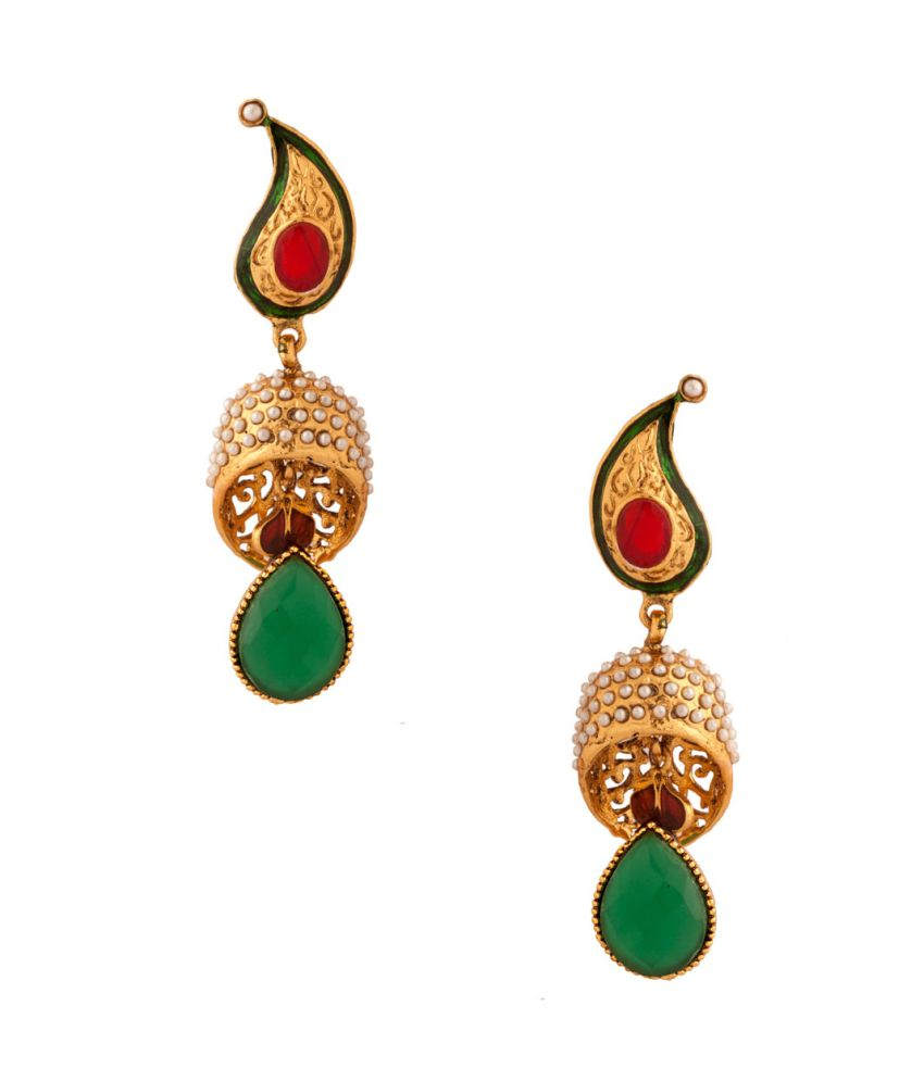 Voylla Pair Of Dangler Earrings With Green Faux Stone