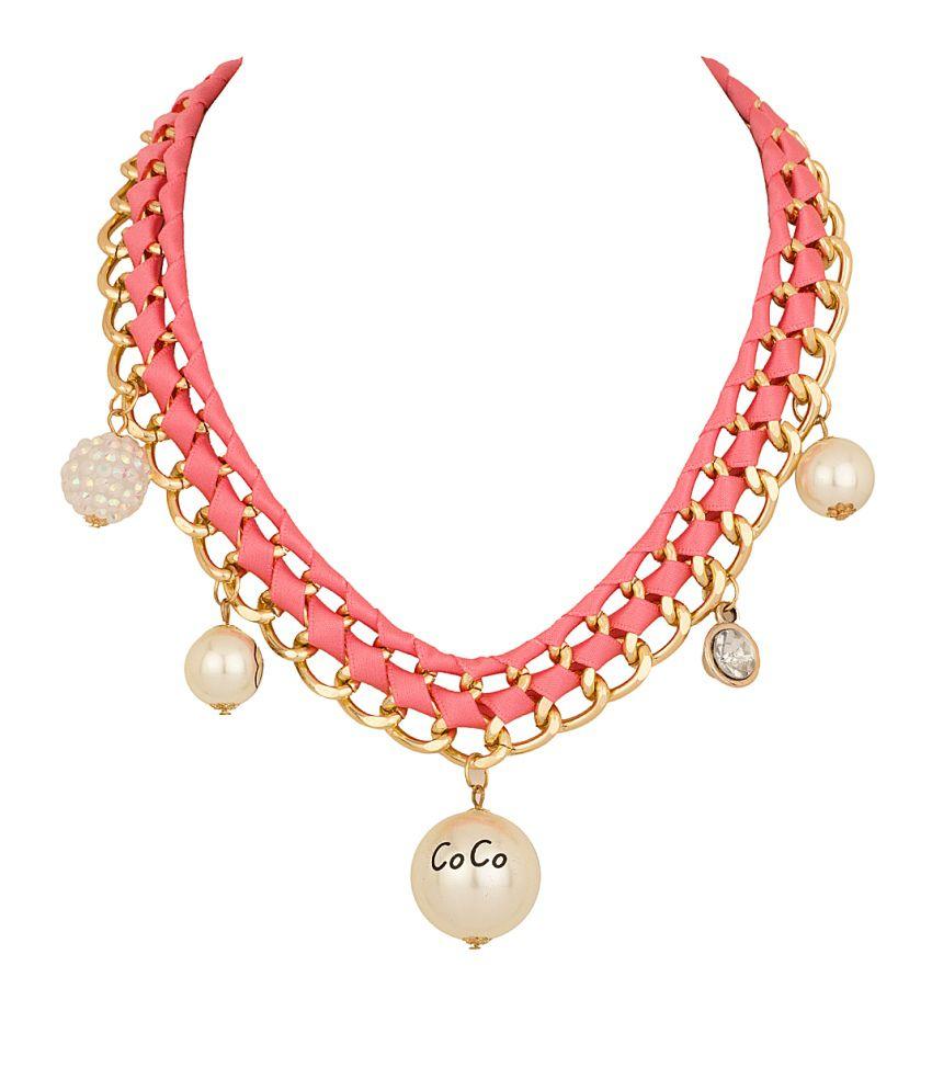 Voylla Statement Necklace With Glossy White Tassels