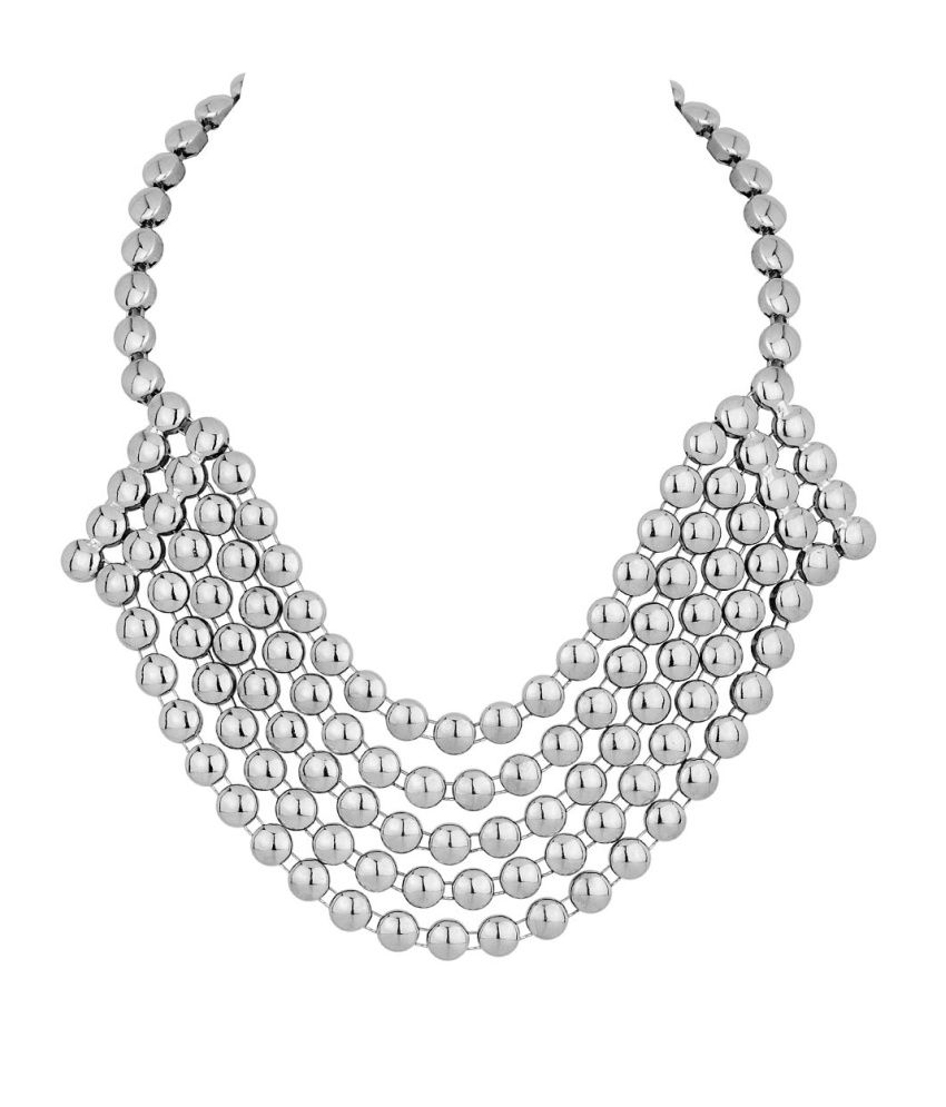 Voylla Statement Necklace With Glossy Silver Beads