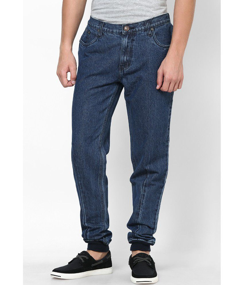 Zaab Blue Cotton Joggers Fit Denim Jeans - Buy Zaab Blue Cotton ...