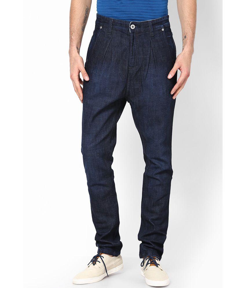 Zaab Blue Cotton Polo Fit Denim Jeans