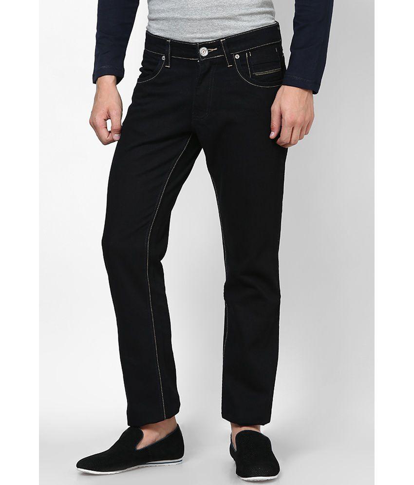 Zaab Dark Black Cotton Regular Fit Denim Jeans