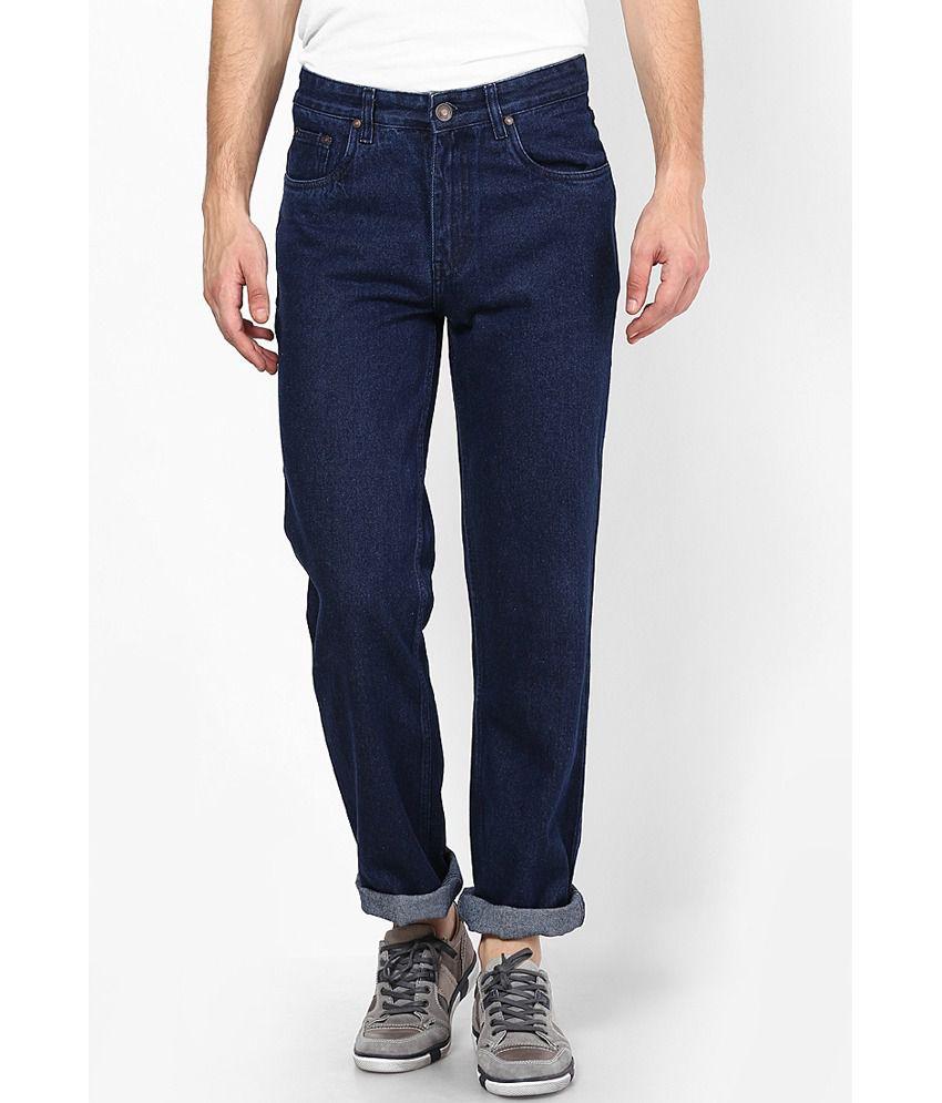 Zaab Navy Blue Cotton Regular Fit Denim Jeans