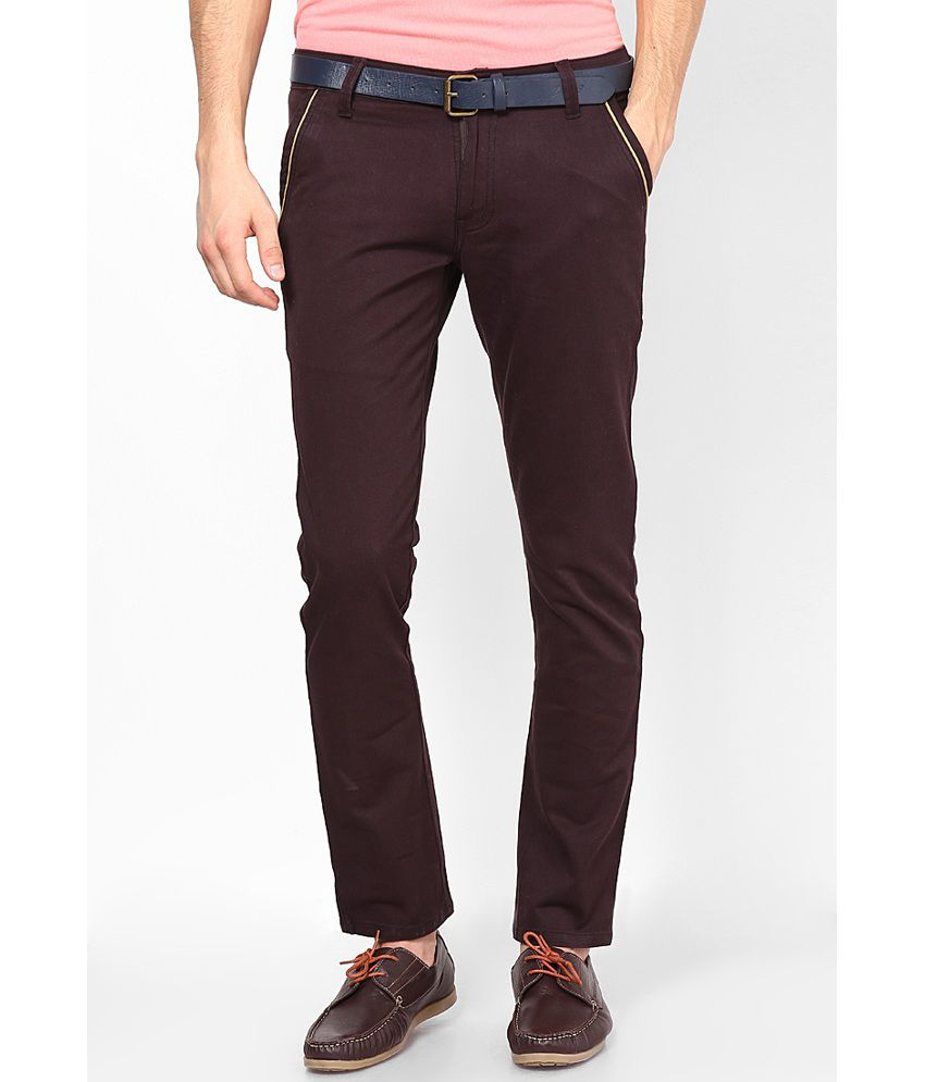 Zaab Purple Cotton Slim Fit Chinos
