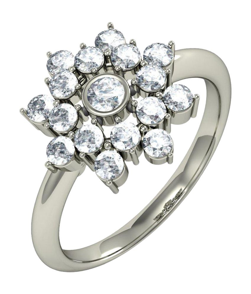 Amogh Jewels Floral Design Natural Diamond 92.5 Sterling Silver Ring