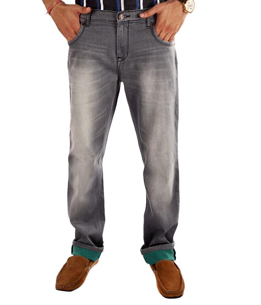 White House Cotton Lycra Light Grey Comfort Slim Fit Jeans