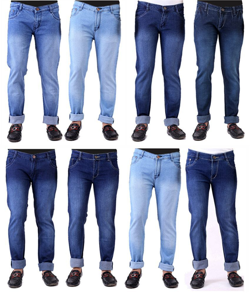 Haltung Faded Men's Slim Fit Jeans Combo Of 8