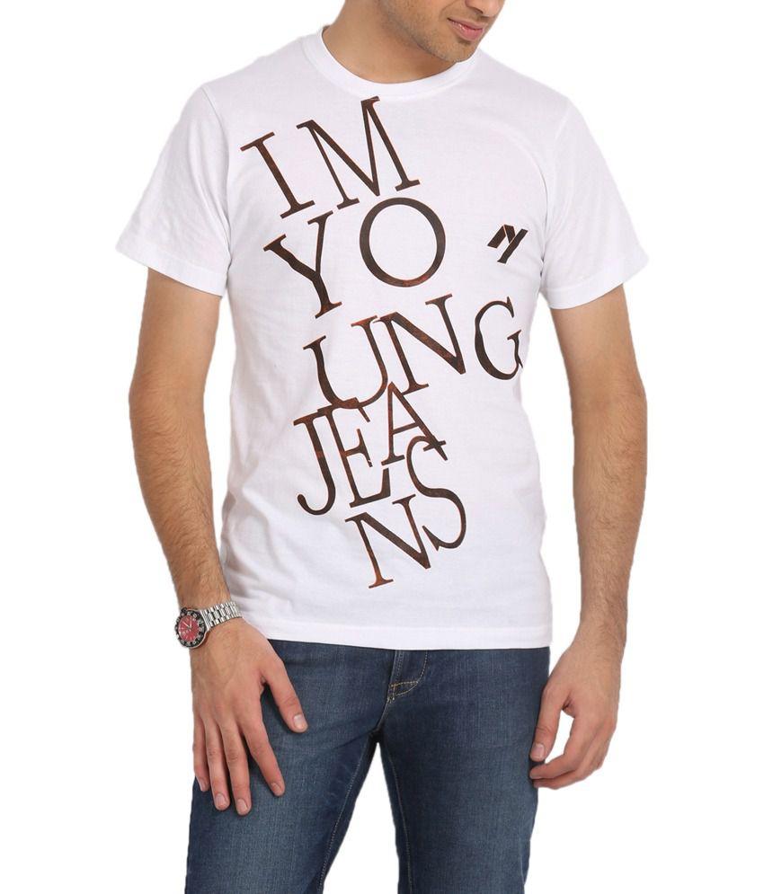 I M Young White Half Cotton Round Neck T-shirt