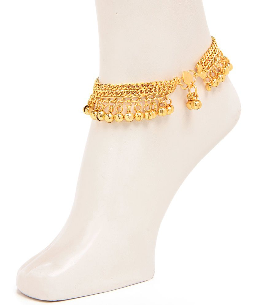 Pretty Golden Coloured Jhungroo Anklet by GoldNera