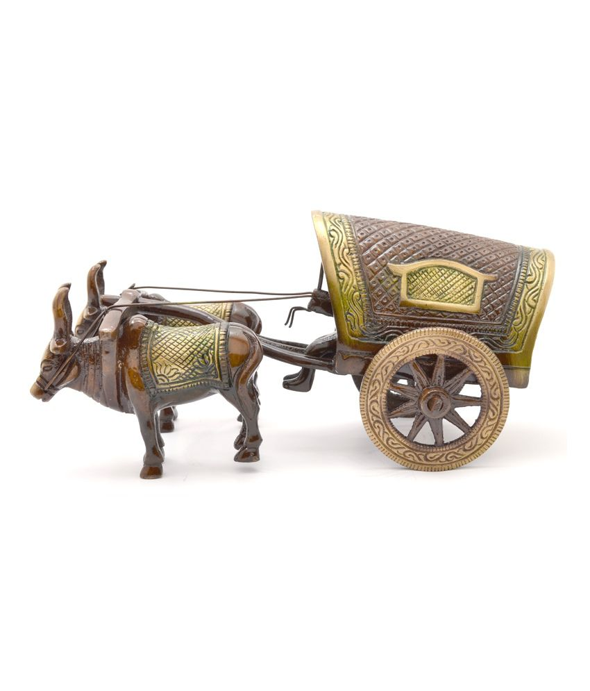 Two Moustaches Brass Village Bullock Cart Covered Showpiece