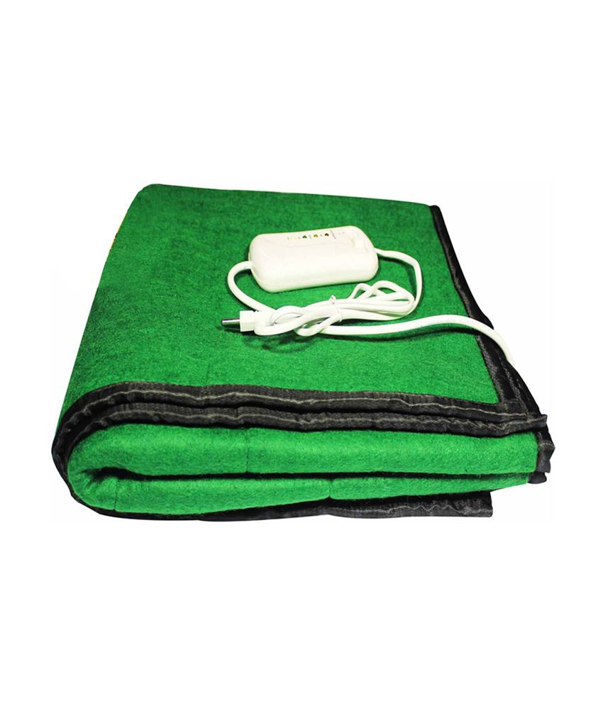 Excluzy Electric Heating Blanket Single Bed Green Namda Polyphil Online At Low