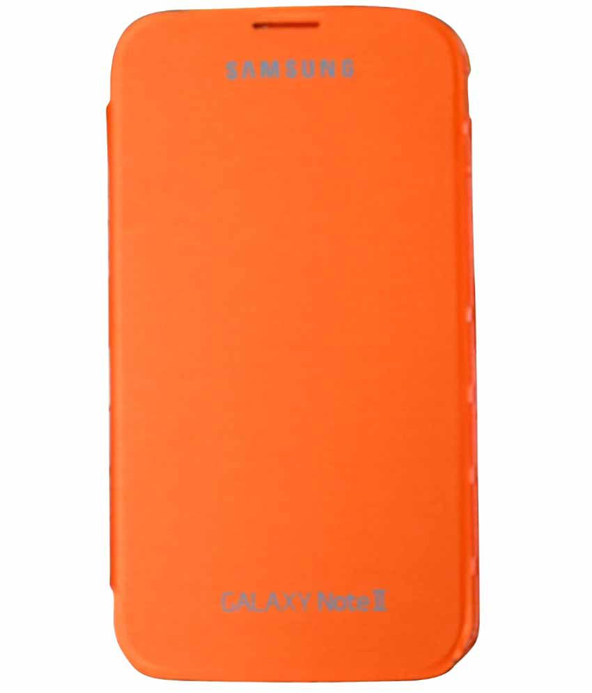Mobitrixx Imported Premium Book Flip Case Cover For Samsung Galaxy Note 2 N7100 (orange )