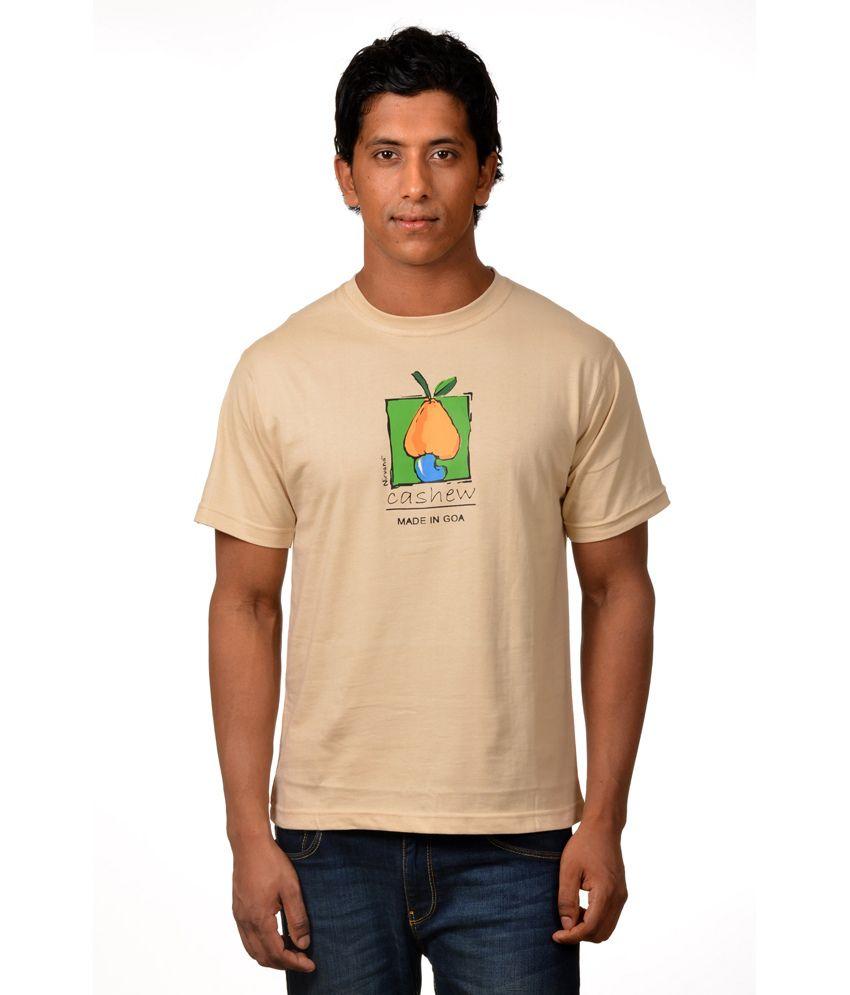Mens Casual Tshirt - Printed - Beige Color Cotton Round Neck Tshirt - Nirvana