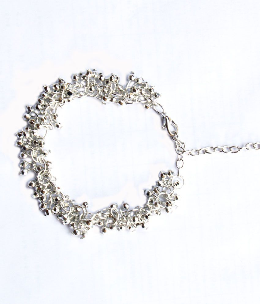 Vr Designers Stylish Silver Links And Chain Anklet