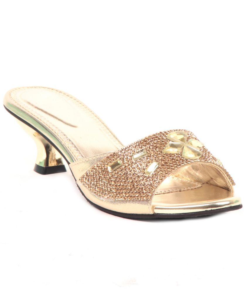 Adorn Gold Heeled Slip-on