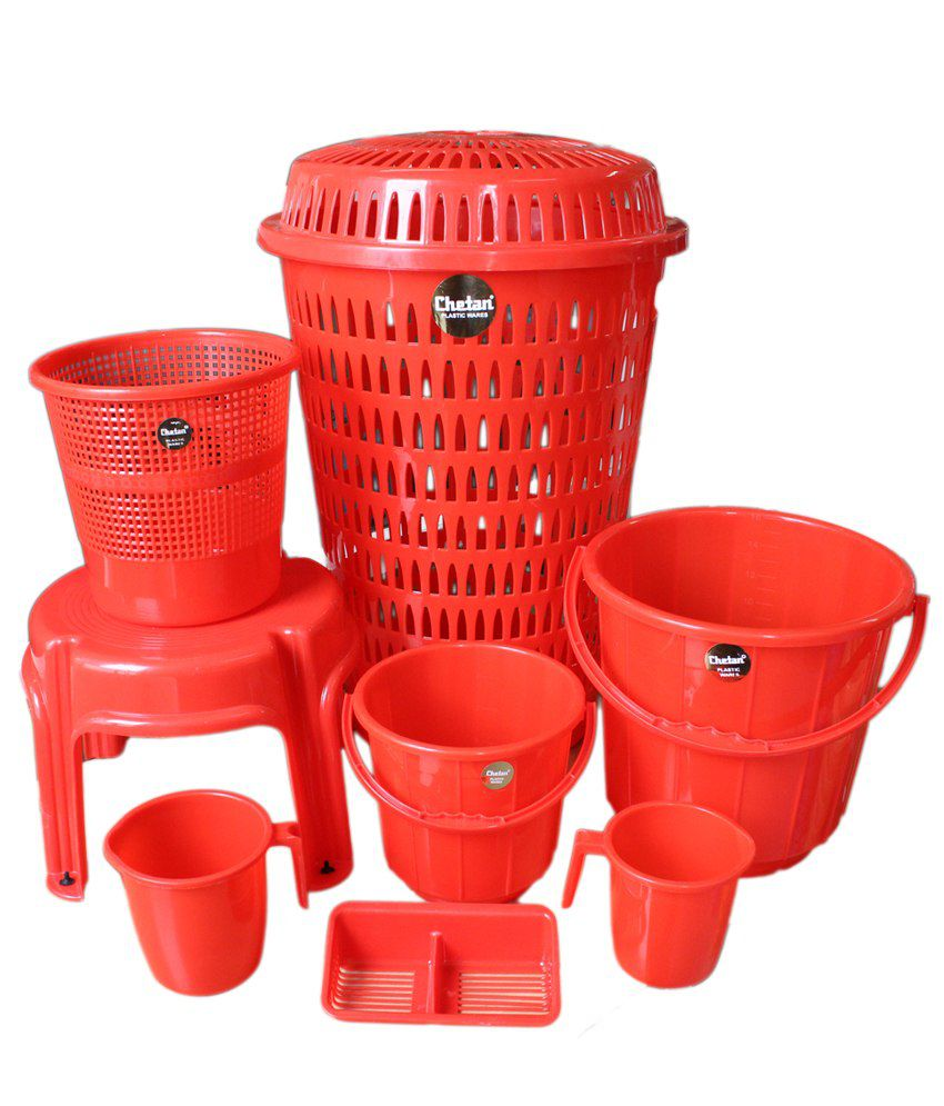 Plastic bathroom sets - Chetan 8 Pc Red Colour Plastic Bathroom Set