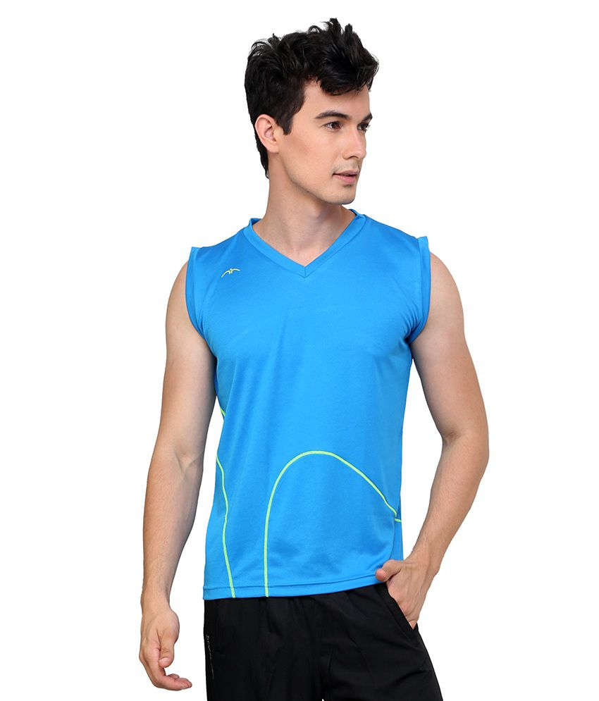 233c5f9c Dida Blue Sleeveless Polyester V-neck T-shirt - Buy Dida Blue Sleeveless  Polyester V-neck T-shirt Online at Low Price - Snapdeal.com