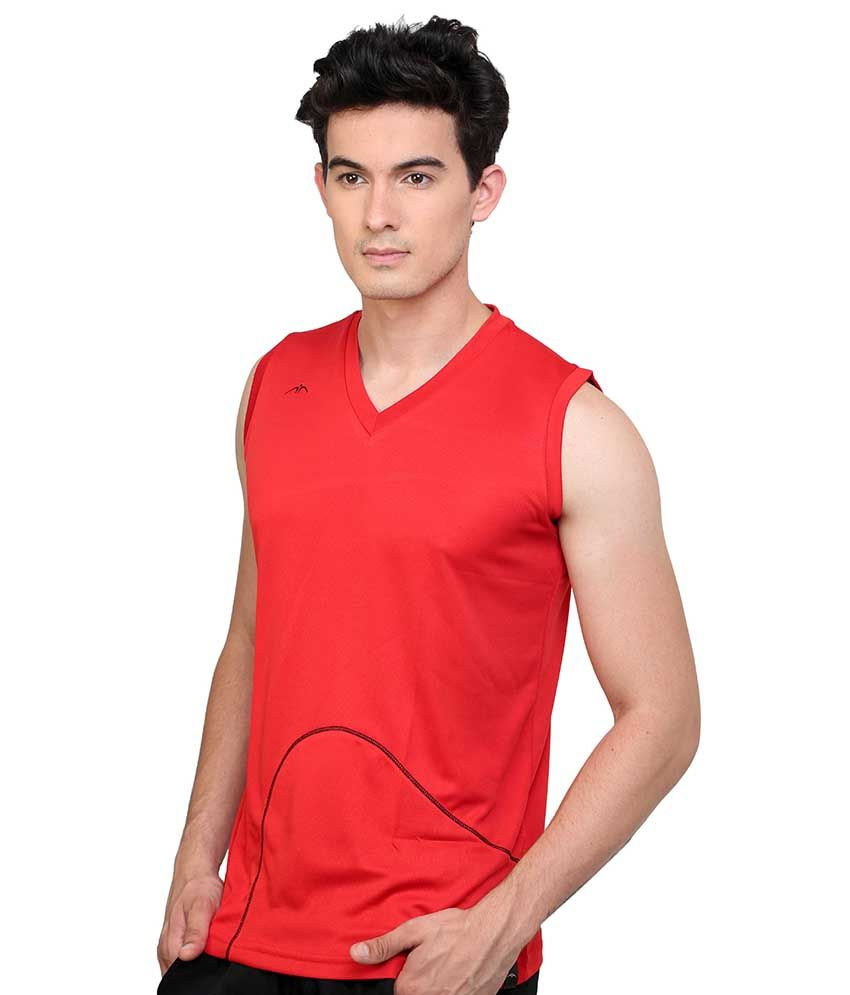 475049c2 Dida Red Sleeveless Polyester V-neck T-shirt - Buy Dida Red Sleeveless  Polyester V-neck T-shirt Online at Low Price - Snapdeal.com