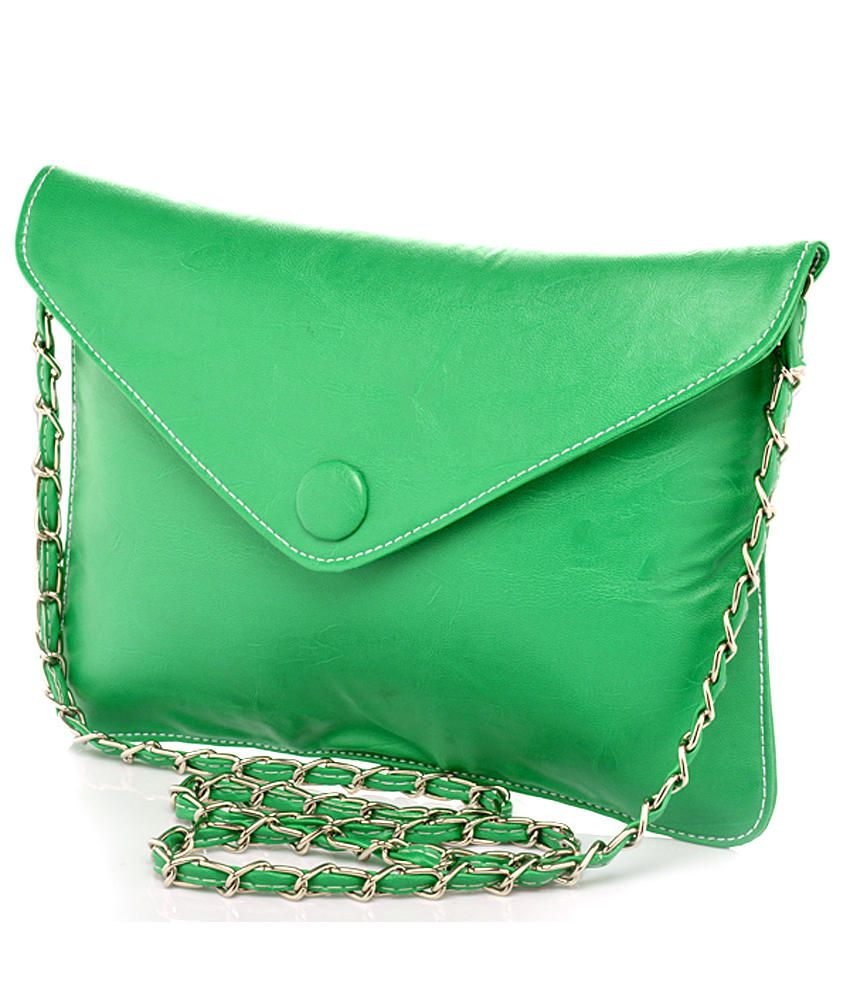 Felicita Stylish Green Sling Bag With Unique Long Strap - Buy ...