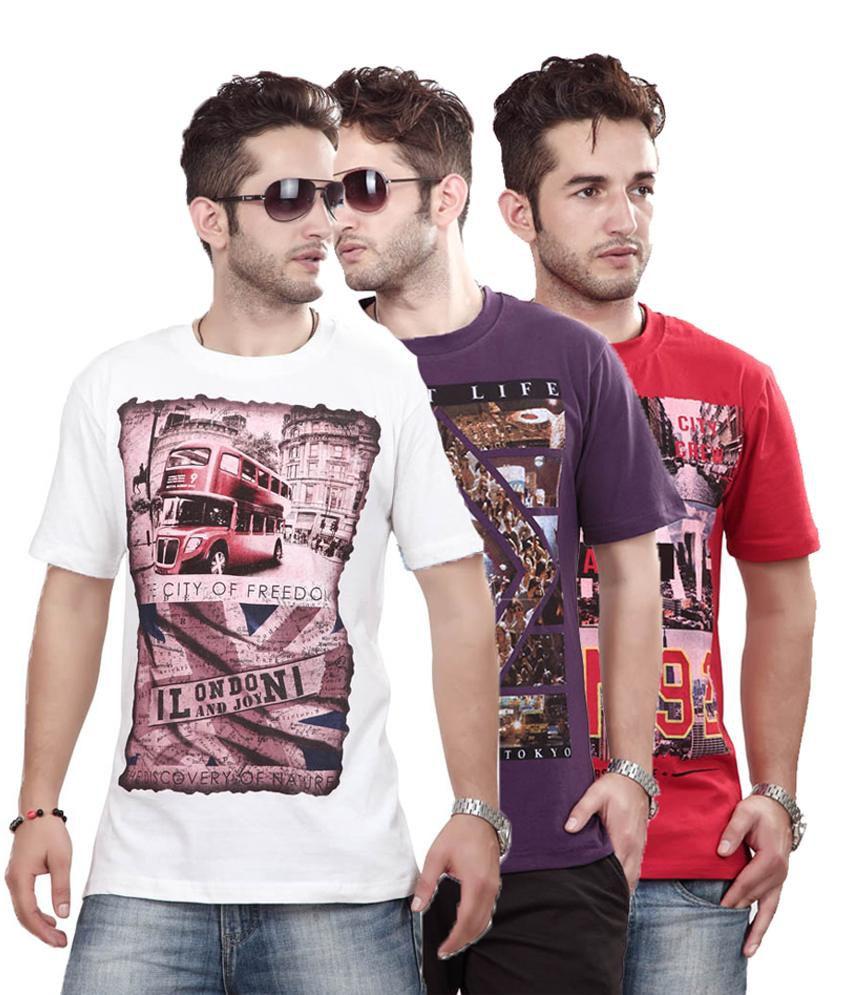 Free Spirit Multi Color Half Cotton Round T-shirt