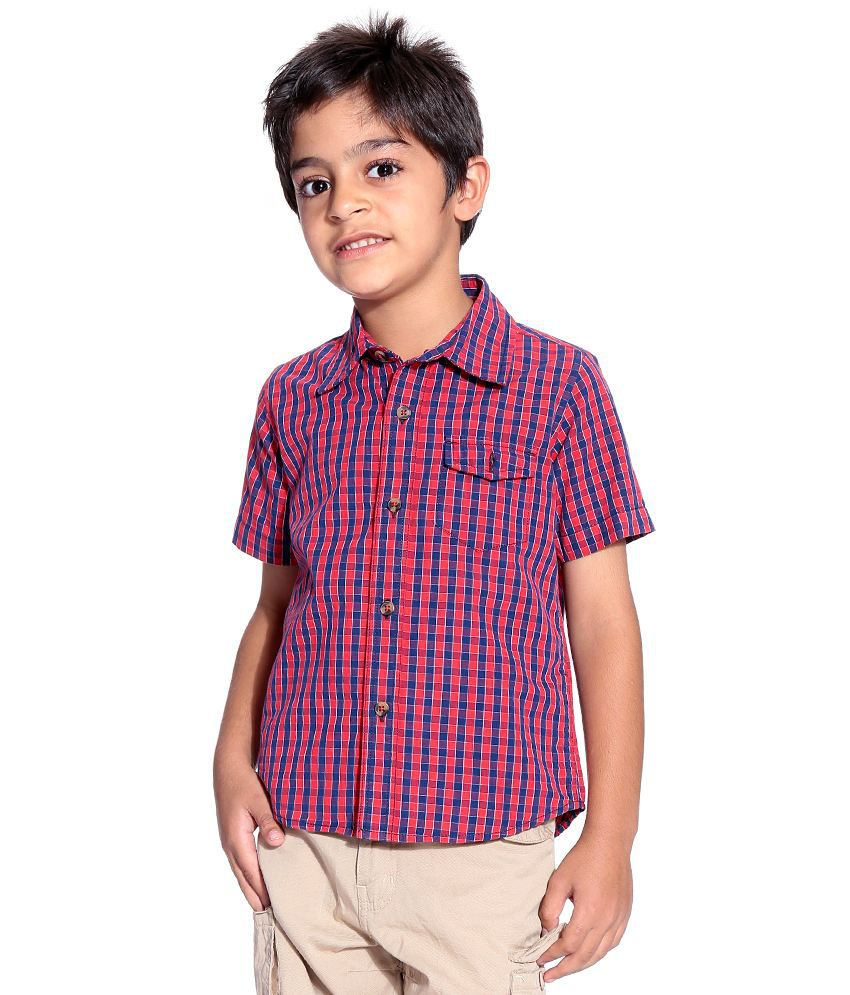 Silver Streak Half Sleeves Red Color Shirt For Kids