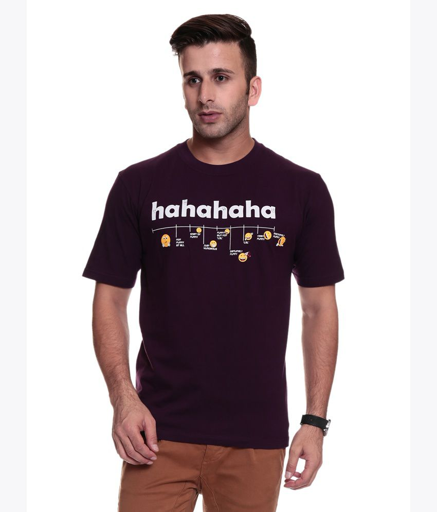 Tsg Escape Men's Round Neck Printed Tshirt- Purple Blue Color