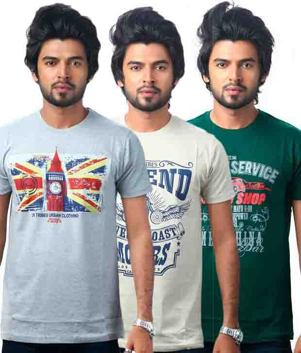 Uk Tribes Cotton Half Printed T-shirt - Pack Of 3