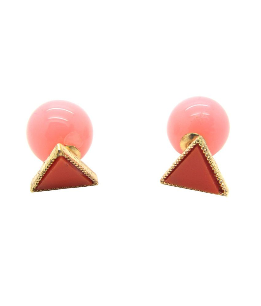Cilver Fashion New Double Faced Pink Triangle Earrings