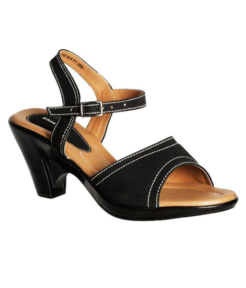 cd6b6fb4fb03d Khadim s Black Strap-on Cone Heel Sandals Price in India- Buy Khadim s  Black Strap-on Cone Heel Sandals Online at Snapdeal