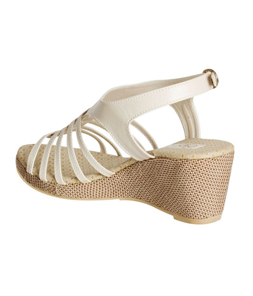 6a06aef62d24 Khadim s Cleo White Sling-back Wedge Sandals Price in India- Buy ...