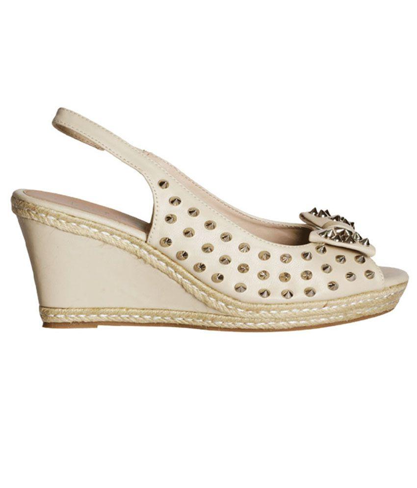 b9649d562274 Khadim s Cleo White Sling-back Peep-toe Wedge Studs Price in India ...