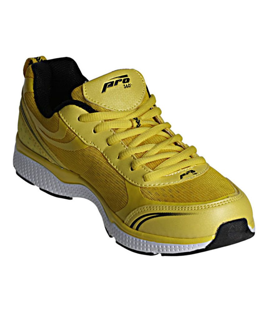Pro 360 Yellow Lace-up Sports Sneakers