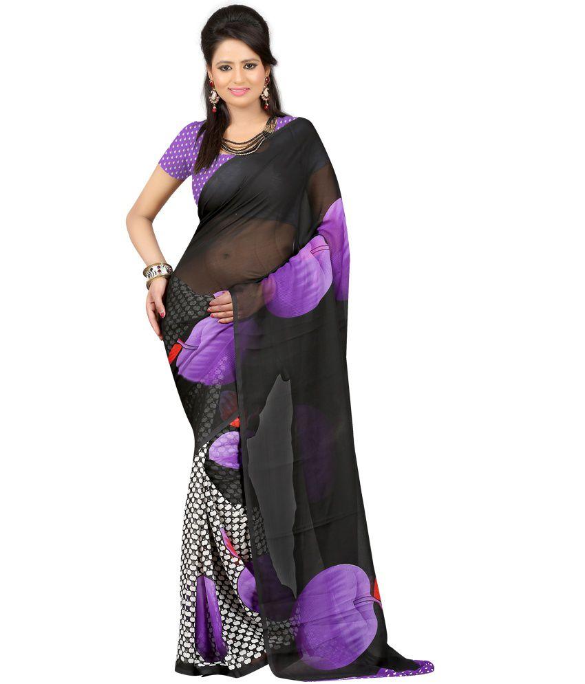 Sanju Sarees Gorgeous Black Georgette Saree With Blouse Piece