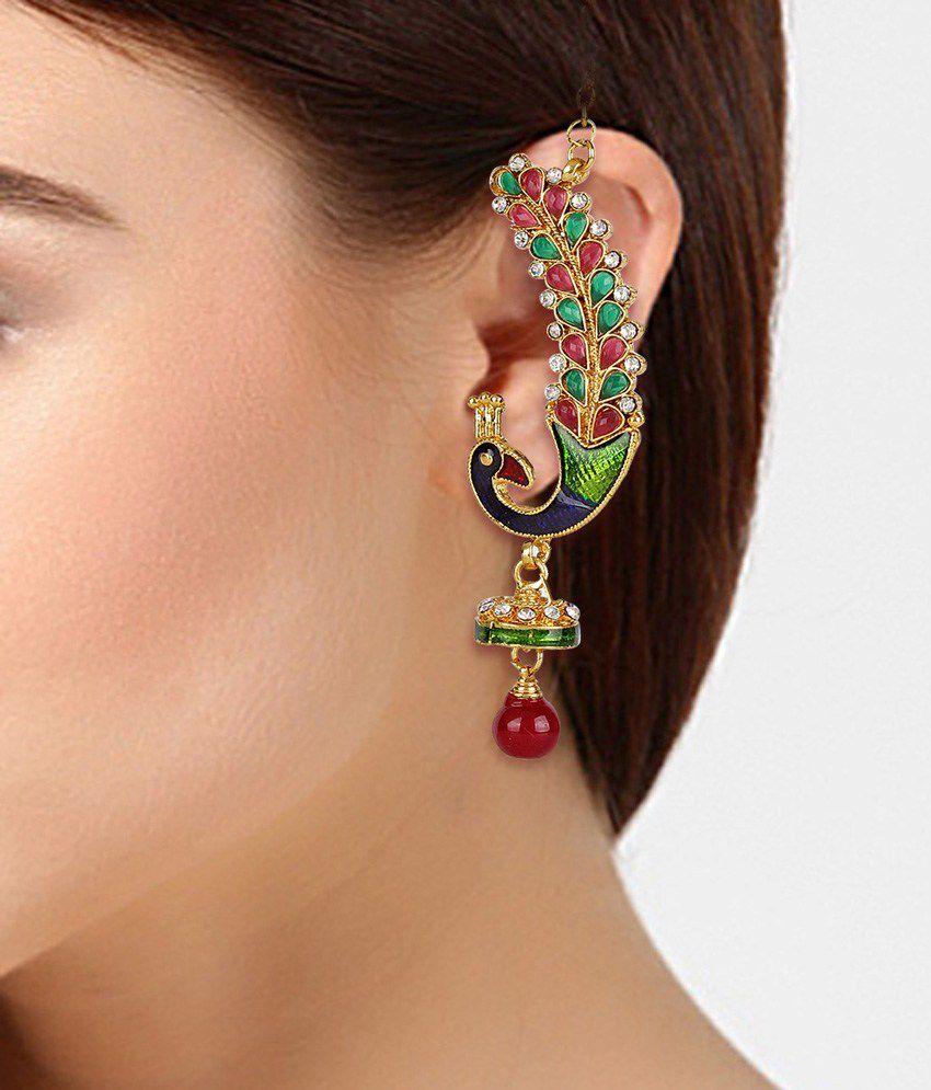 Shining Diva Peacock Ear Cuff Earrings