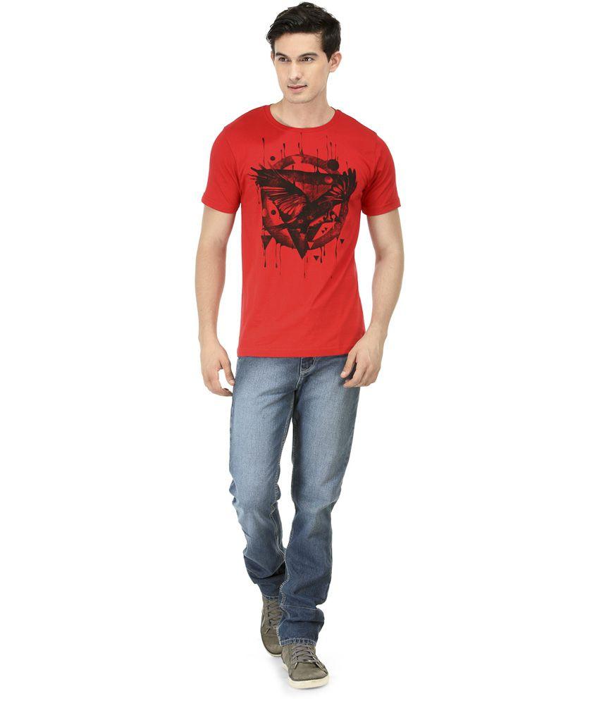 Slingshot Red Half Cotton Round T-shirt