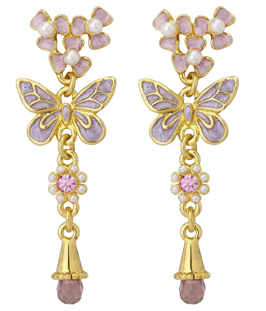 Apriati Purple And Golden French Style Hanging Earrings