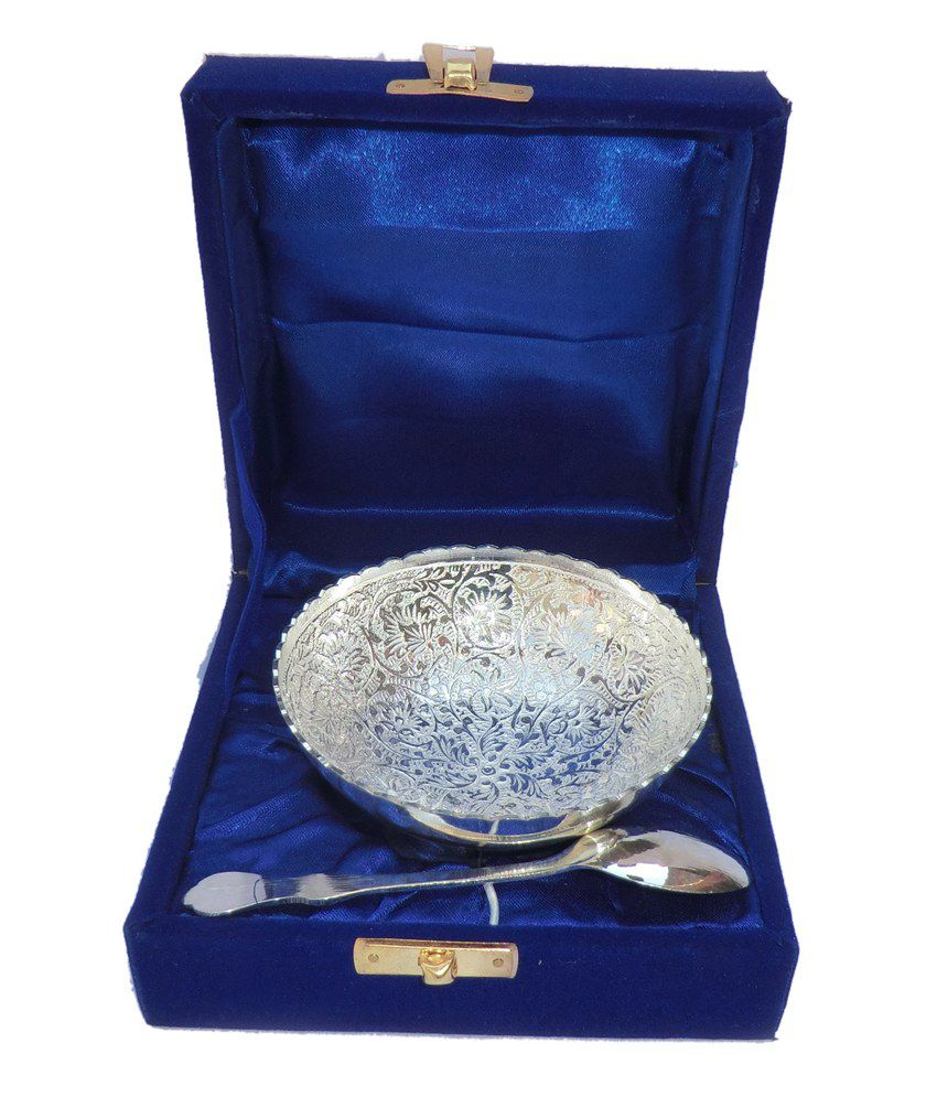 Silver Gifts For Indian Wedding: Greentree Pudding Bowl Silver Plated Brass Designer