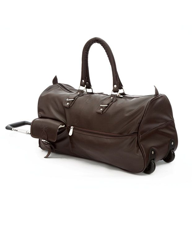 MBOSS Stylish Two Wheel Trolley Duffel Bag- Brown leather Look - Buy ... de11159ddd0ba
