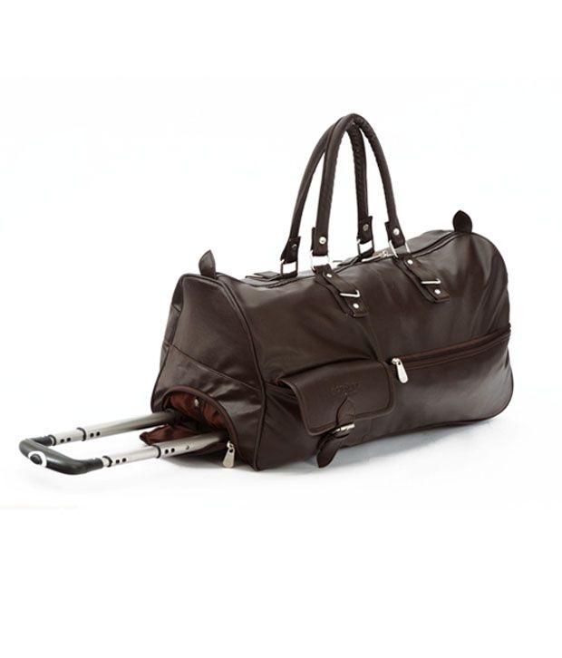 431c14c58b MBOSS Stylish Two Wheel Trolley Duffel Bag- Brown leather Look - Buy ...