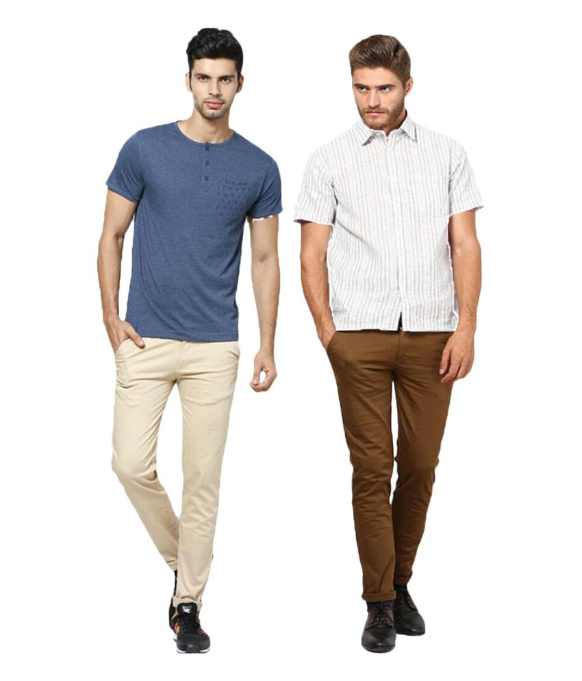 Inspire Clothing Inspiration Pack Of 2 Slim Casual Chinos (Beige & D.Khaki)
