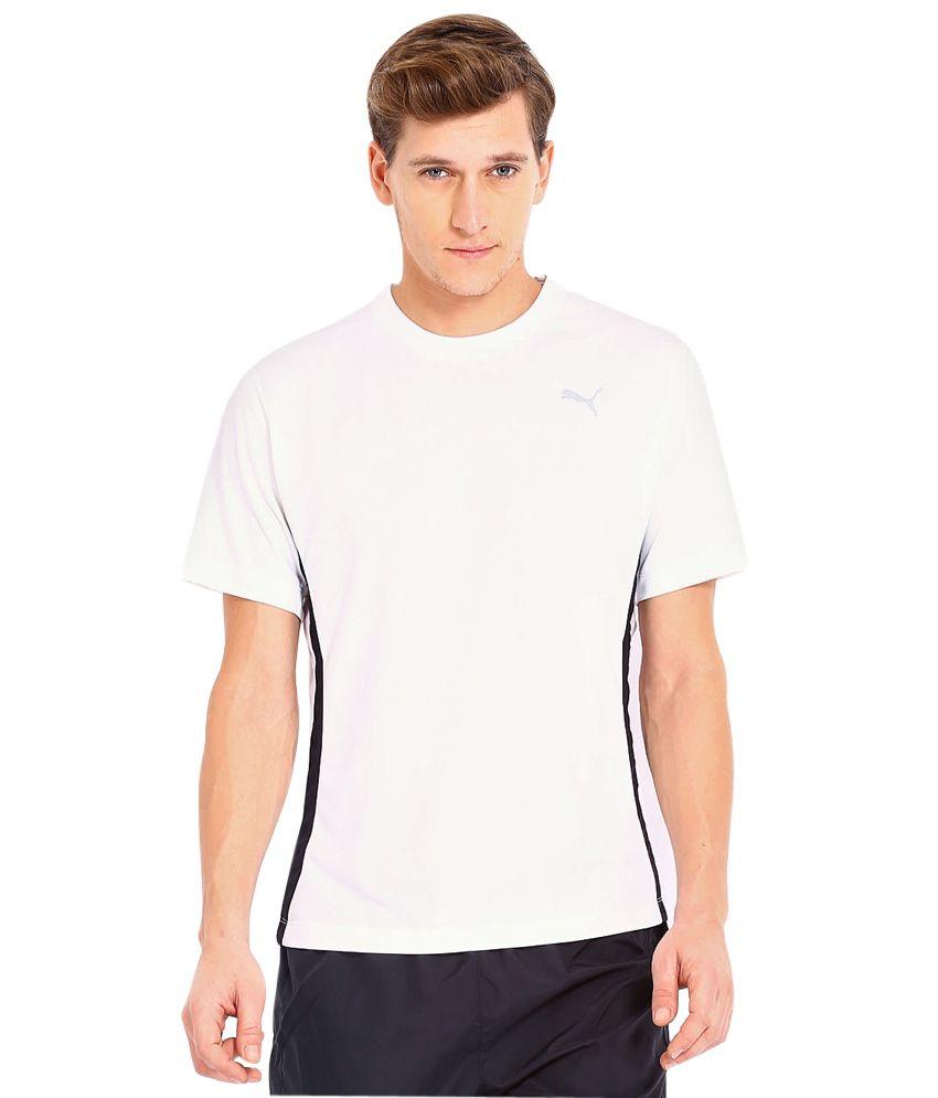Puma White Polyester  T-Shirt