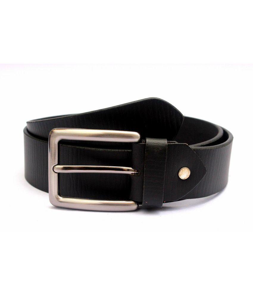 Tops Black Coloured Plain Leather Belt