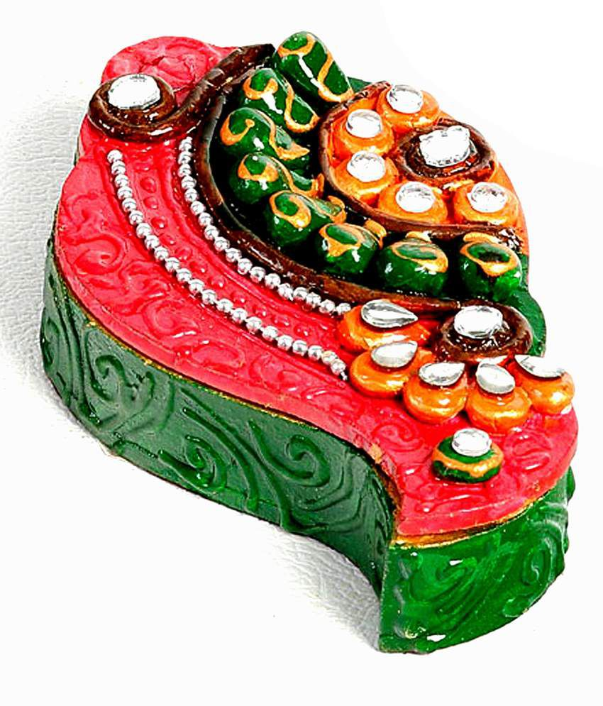 Aapno Rajasthan Green And Pink Wood Kundans Painted Shankh Kumkum Chopra