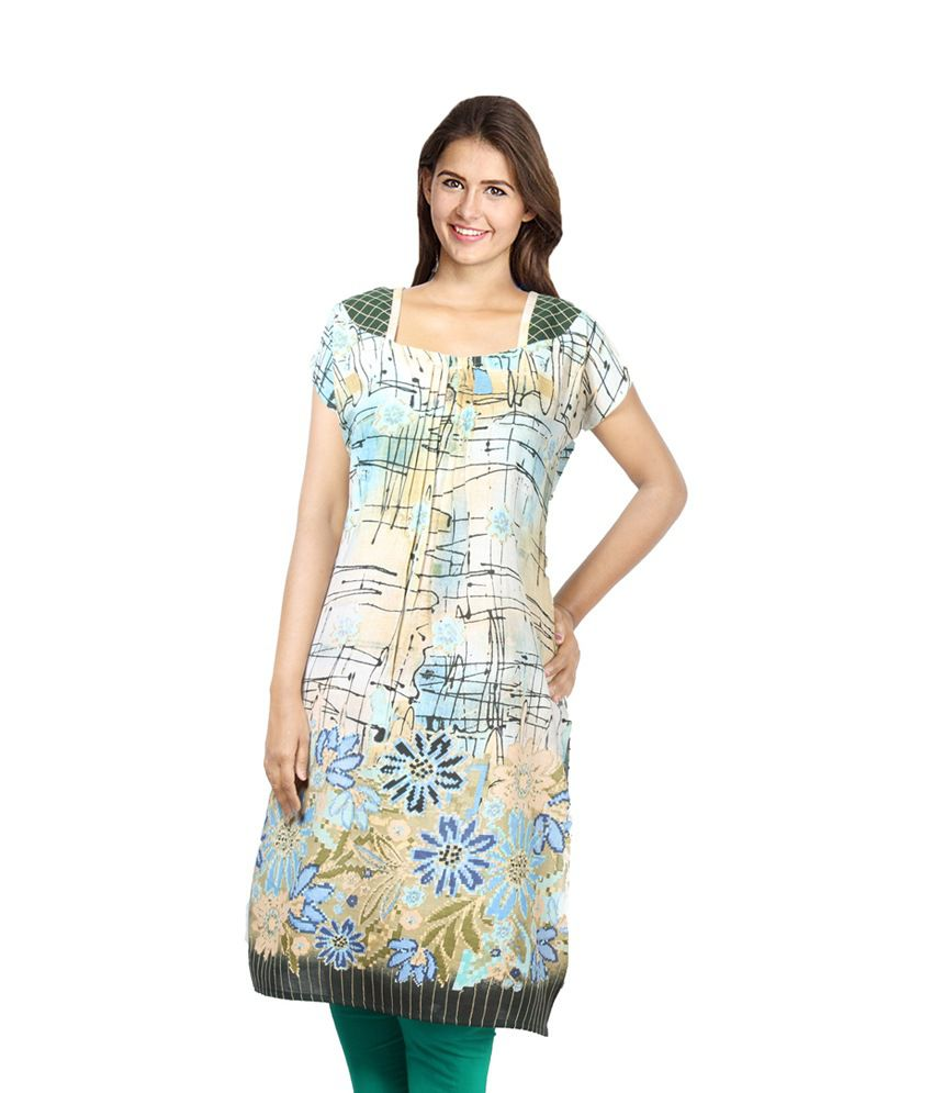 Confession 9 Beige And Green Printed Cotton Half Long Kurti