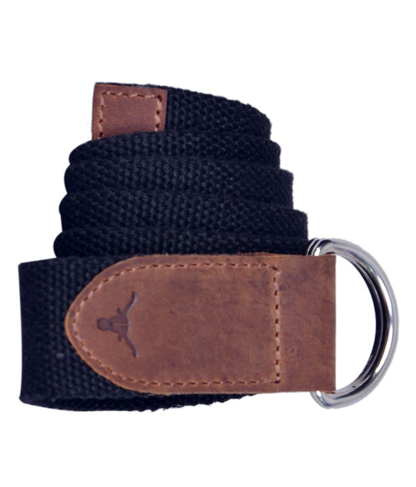 Hidekraft Black Canvas Leather Belt