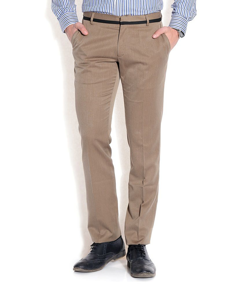John Players Brown Slim Formals Trousers & Chinos