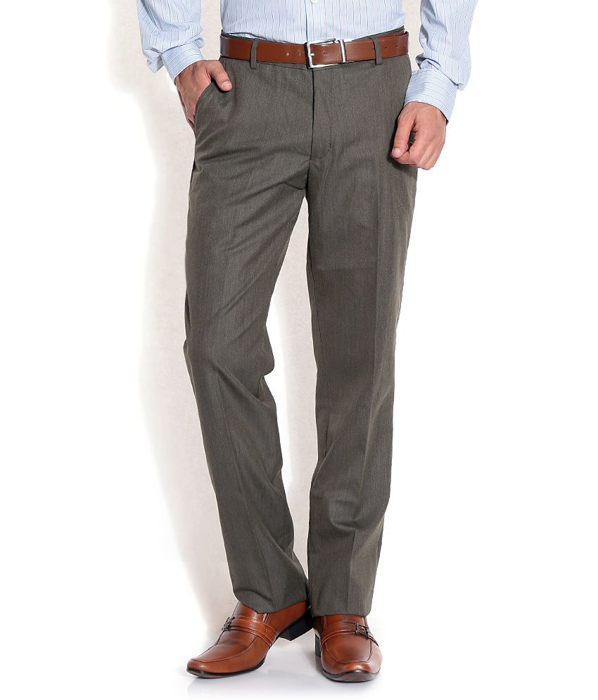 John Players Gray Slim Formals Trousers & Chinos