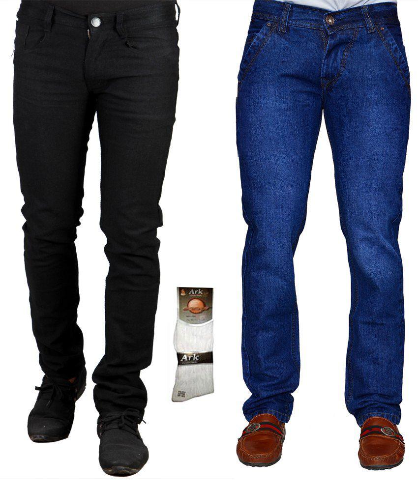 Kaasan Men's Denim Jeans Combo Of 2 With Free 1 Pair Of Assorted Socks