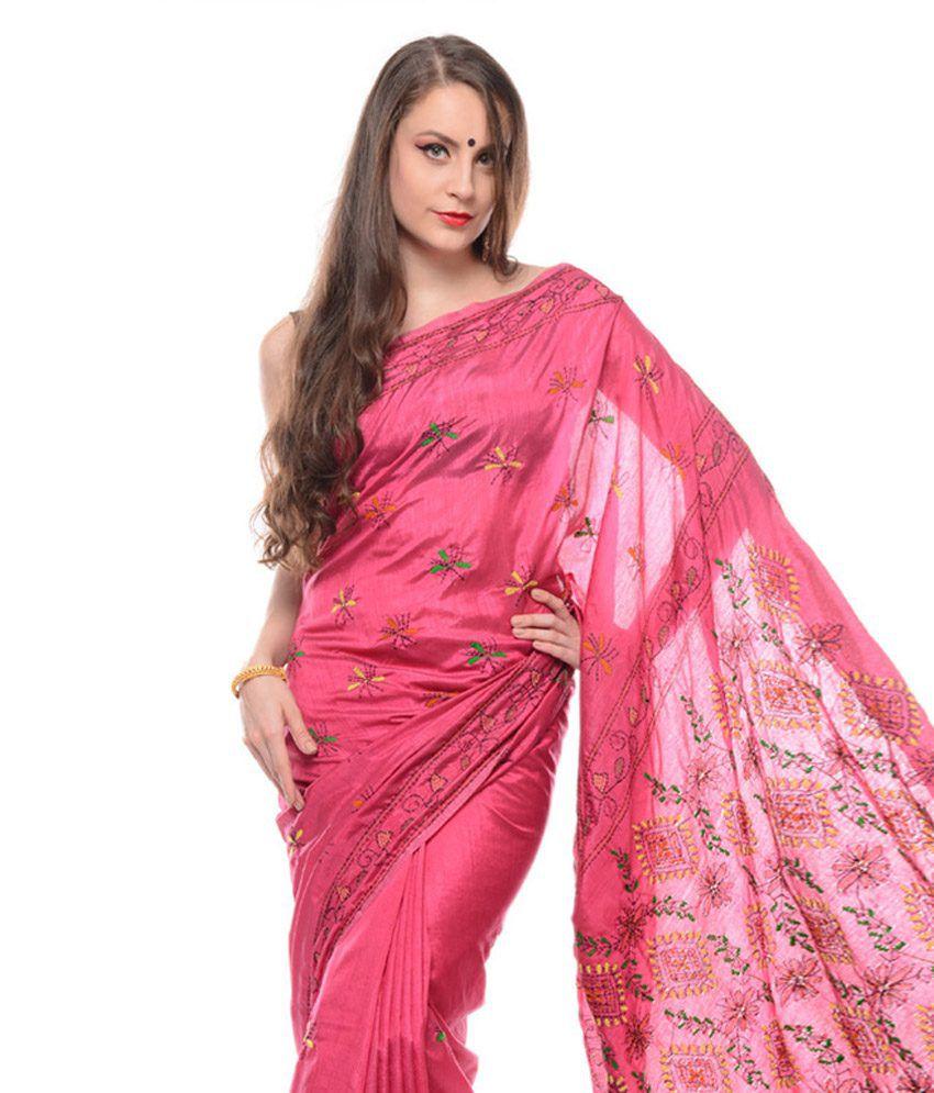 d485fe9b4fe Samayra Pink Kantha Work Cotton Silk Saree With Blouse Piece - Buy Samayra Pink  Kantha Work Cotton Silk Saree With Blouse Piece Online at Low Price ...